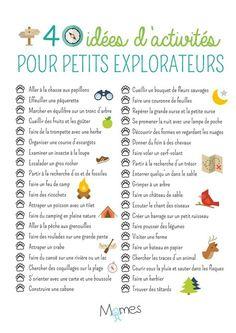Poster 40 idées d'activités pour petits explorateurs - Momes.net