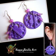 ON SALE Polymer Clay Earrings Purple Round Heart by HappySmileArt