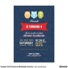 Denim Owl Cartoon Birthday Invitation for Kids Celebrate your kid birthday with this cool and cute owl birthday party invitation with denim texture. Customize the wording to fit your occasion.