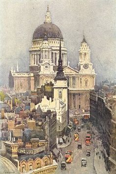 St. Paul's and Ludgate Hill, London, 1920 by Ernest William Haslehust (English 1866 -1949)