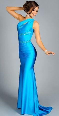 Blue Tight Long One-shoulder Taffeta Evening Dress / 258