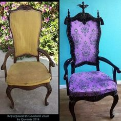 gothiccharmschool:  pocketfullofposiez:  finished my latest repurposed chair today :D $5 chair from the Goodwill, transformed into a fabulous one of a kind Mansion chair just for me. Matthew made the embellishments for me. i designed the faux suede through Spoonflower just for this project. #transformationtuesday #hauntedmansion #mansion #diy #refurbished #reupholstered #grimgrinningghosts #repurposed #fabulous #chair  !!! QUEENIE! I AM CONSUMED WITH ENVY! Also, I miss you. A lot.