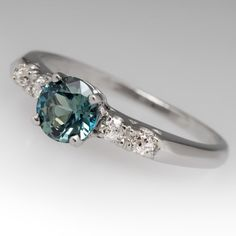 Blue Green Sapphire & Diamond Vintage Platinum Ring