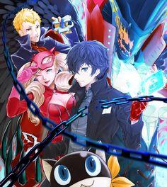 Artist: Pixiv Id 609071 | Shin Megami Tensei: Persona 5 | Arsène | Morgana | Protagonist | Sakamoto Ryuuji | Takamaki Anne