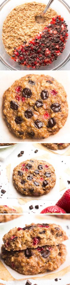 Dark Chocolate Strawberry Oatmeal Cookies -- only 98 calories, but these skinny cookies don't taste healthy at all! You'll never need another oatmeal cookie recipe again!