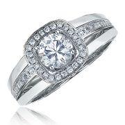 18KW CUSHION DIAMOND MINI ECLIPSE RING 44=.26CT