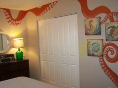 "Giant sqid engulfs this little boys room with ""playful"" tentacles... :-) A little over the top yes...but why not?"