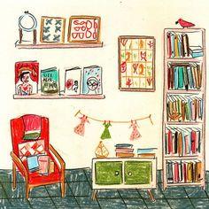 María Luque. La biblioteca de @missaivlis #bibliotecasdibujadas