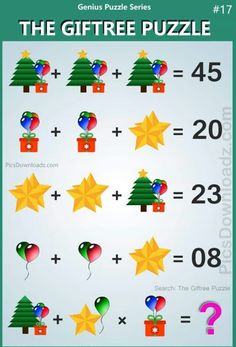 will fail to attempt this logic math puzzle. The Giftree Puzzle Difficult Math Puzzles with answer! Search items: The Tree Gift Puzzle Gift and Tree Puzzle Tree Star Gift Puzzle viral math puzzle viral whatsapp puzzle. Math Logic Puzzles, Math Quizzes, Number Puzzles, Math Games, Math Riddles With Answers, Brain Teasers With Answers, Tricky Riddles, Logic Questions, School