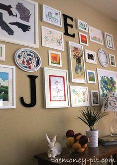 The Kim Six Fix: Children's Artwork Gallery Wall (Updated): Flashback Friday Childrens Artwork, Kids Artwork, Art Wall Kids, Art For Kids, Wall Art, Kids Art Galleries, Wall Galleries, Artwork Display, Display Wall