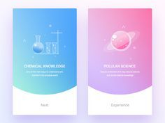 Science by - Mobile Onboarding Cards by Shurvir Mori Module Design, Interaktives Design, Web Ui Design, Page Design, Flat Design, Mobile App Design, Mobile Ui, Gui Interface, User Interface Design