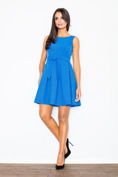 a4b10327806 Pleated Belted Sleeveless Blue Dress with Seamed Top