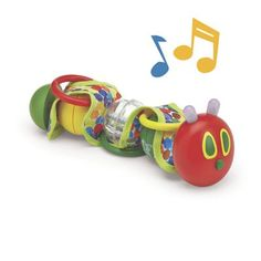The Very Hungry Caterpillar Wiggle Rattle with Lights & Sounds: A fun baby toy for even the youngest The Very Hungry Caterpillar™ fans! Infants are fascinated by the caterpillar's flashing antenna, entertaining music, bead rattle, and rings. The segments are bungeed together, so baby can make the caterpillar 'wiggle' and twist each segment...