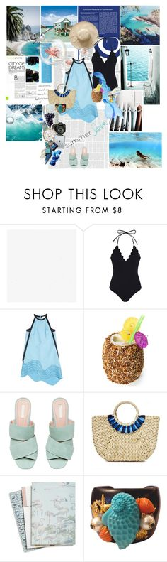 """""""Sonder (n)"""" by la-rosy ❤ liked on Polyvore featuring Marysia Swim, KEEP ME, Hat Attack, Maison Scotch, Mario Badescu Skin Care, Eos, OPI, maurices, Blue and summer2018"""