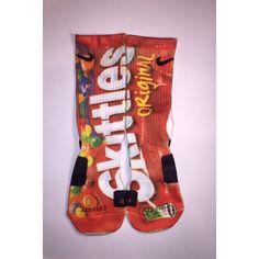 Nike Elite Skittles socks ($19) ❤ liked on Polyvore featuring intimates, hosiery, socks, nike, sports socks, nike socks and sport socks