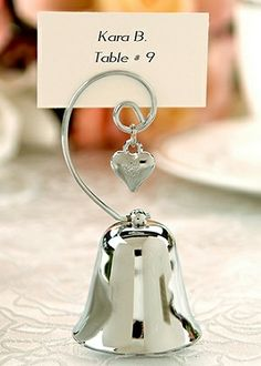 Bell Placecard Holder with Heart Charm (Set of 4) Wedding Favors