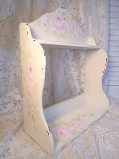 ROMANTIC CHIC WALL SHELF hp rose shabby vintage cottage hand painted chippy pink #Cottage