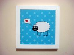 Quadro Loving Sheep tam. 20x20cm moldura branca.