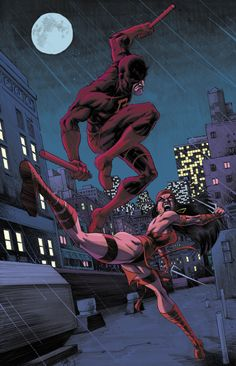Daredevil(Matt Murdock) & Electra/Elektra(I forgot what her name is) Daredevil & Electra - Nate Stockman, Colours: Chris O'Halloran Marvel Dc Movies, Marvel Comics Superheroes, Marvel E Dc, Marvel Comic Universe, Marvel Characters, Marvel Heroes, Dc Comics, Daredevil Artwork, Daredevil Elektra