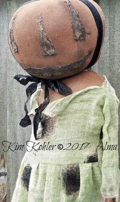 Primitive Pumpkin Witch Doll Standing OOAK Halloween Jointed