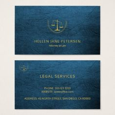 Lawyer upscale elegant gold blue leather look business card - attorney lawyer business personalize unique counsel