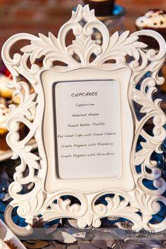 Display your cupcake flavors in a cute frame.  Flavors from Sweet Memories Bakery in Apex, NC.  Raleigh weddings.