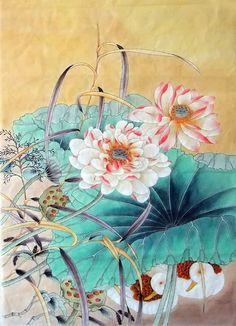 Chinese Lotus Lotus x x Painting. Buy it online from InkDance Chinese Painting Gallery, based in China, and save Lotus Painting, Lily Painting, Japan Painting, Artist Painting, Chinese Painting, Chinese Art, Chinese Brush, Oriental, Korean Art