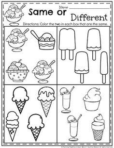 Ice cream Theme Worksheets for Preschool - Same or Different #preschoolworksheets #icecreamworksheets #summerworksheets #planningplaytime