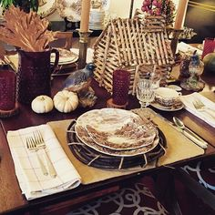 A birdhouse as a table centerpiece...why not? #putabirdhouseonit #bringtheoutsidein #fallinlovewithfall #mixitup #falldecor #thanksgivingtablescape #graciousseattle