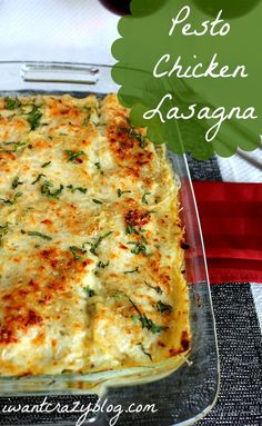 Pesto Chicken Lasagna New twist on the classic comfort food, delicious! {I'll be subbing chopped cooked chicken in place of ground chicken, though. I Love Food, Good Food, Yummy Food, Pasta Dishes, Food Dishes, Main Dishes, Do It Yourself Food, Pesto Lasagna, Pesto Chicken Lasagna Recipe