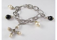 Designer Inspired Pearl and Black CZ Cross Charm Two Tone Link Bracelet $12.75