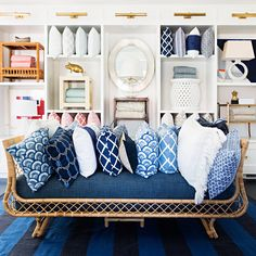 Home decor mecca Serena + Lily recently unveiled their latest store design: an amazingly historic renovation project that fits in perfectly with the brand. Rattan Daybed, Rattan Furniture, Rattan Chairs, Blue Chairs, Best Daybeds, Ikea Must Haves, Murphy Bed Ikea, Furniture Layout, French Furniture