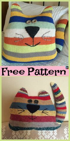 Cute Knit Cat Cushion – Free Patterns  #freeknittingpatterns #cat #cushion