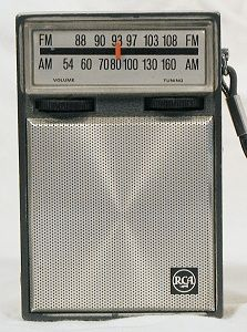 Transistor radio - my sister and I got our first transistor radio from our uncle - they were baby blue.