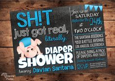 Funny Diaper Shower Invitation  Sht just got by ReigningParties, $20.00