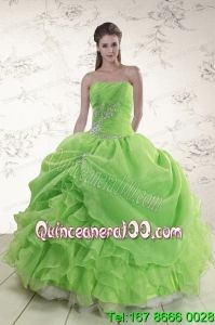 2015 Traditional Strapless Appliques Quinceanera Dresses in Spring Green