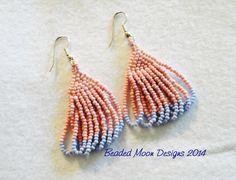 old school striped bead earrings ~ https://www.facebook.com/pages/Beaded-Moon-Designs/229870373249