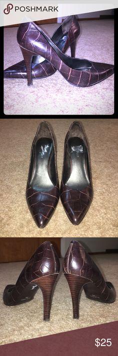 "Nine West Crocodile Heels Croc print heels, 3"" stiletto. Great condition. Nine West Shoes Heels"