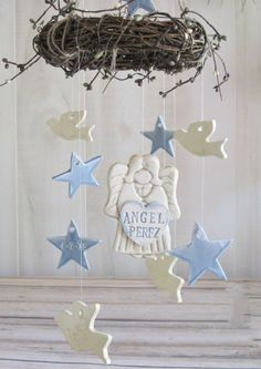 Memorial Angel Stars and Doves Memorial  Wind Chime Personalized by LaurelArts