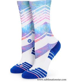 There's no need to sacrifice style for performance with these mixed stripe and sublimated galaxy print crew socks that feature a breathable moisture wicking construction and engineered arch support for premium comfort. Pink Socks, My Socks, Cool Socks, Nike Slippers, Stance Socks, Custom Socks, Black Milk Clothing, Crazy Socks, Stockings Lingerie