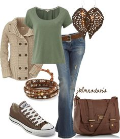 """""""Warm Colors for Fall"""" by jklmnodavis on Polyvore sweater, warm colors, casual fall, brown bags, fall outfits, comfy casual, casual outfits, earring, shoe"""