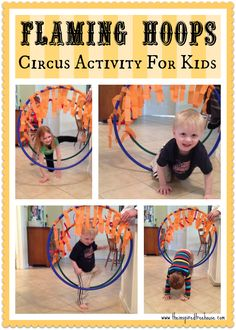 Kids will get a chance to be circus daredevils with this fun #grossmotor activities! Think about all of the animals and acrobats that jump through the flaming hoops at the circus. #activitiesforkids #circus