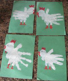 See what we did today: Hand Print Chicken Preschool Themes, Preschool Crafts, Autumn Activities, Toddler Activities, Preschool Activities, Toddler Art, Toddler Crafts, Crafts For Kids, Farm Animal Crafts