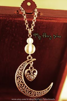 Necklace Moon and Heart