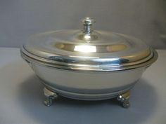 Empress Silver Ware NYS Co 3 Foot Casserole Pot Dish With Handles 1890-Till #EmpressNYSCo