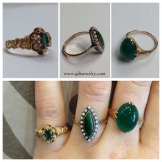 Green rings c1890 to c1960. Emerald green glass, jadeite and chrysoprase all set in yellow gold. #giltjewelry #rings #victorian #jade #chrysoprase #green #gold #vintagejewelry #nw23rd