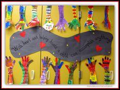 Back to School Hand Art in Kindergarten via RainbowsWithinReach