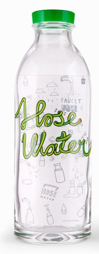 """Faucet Face """"Hose Water"""" Glass Water Bottle"""