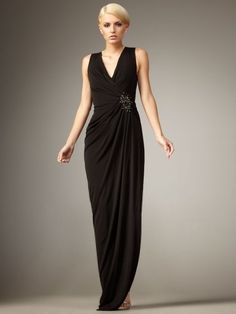 Sheath/Column V-neck Ruffles Floor-length Chiffon Sleeveless Prom Dress