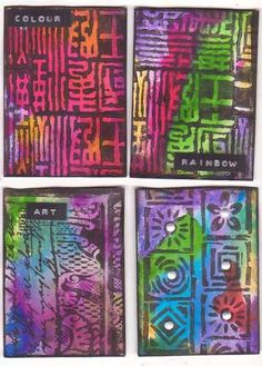 Art Trading Card by Tish Bee- Could be good using big ink pads  with texture boards and collage backs?
